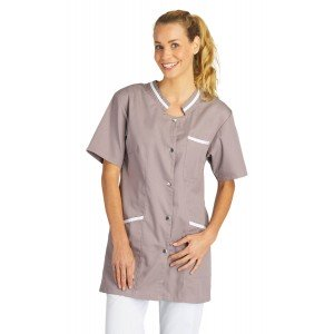 Tunique professionnelle travail blanche manches courtes femme auxiliaire vie medical aide domicile infirmier - ZINC/BLANC