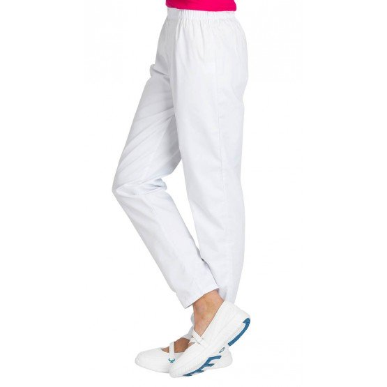 Pantalon professionnel travail femme auxiliaire vie infirmier aide domicile medical - BLANC