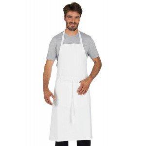 BLANC - Tablier à bavette avec poche de cuisine professionnel blanche 100% coton mixte hôtel restaurant cuisine serveur