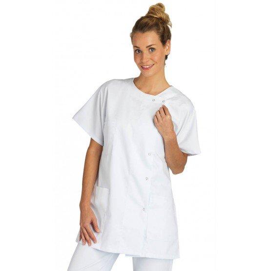 Blouse professionnelle travail blanche manches courtes kimono femme aide domicile infirmier auxiliaire vie medical - BLANC