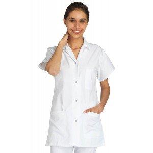 Blouse professionnelle travail blanche manches courtes kimono femme auxiliaire vie medical aide domicile infirmier - BLANC