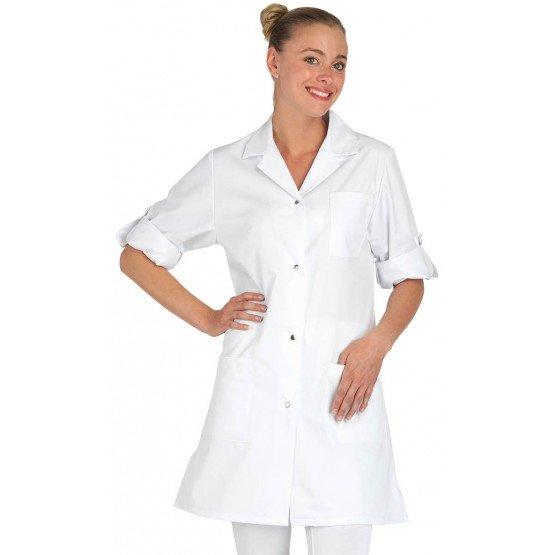 Blouse professionnelle travail blanche manches transformables femme aide domicile infirmier auxiliaire vie medical - BLANC