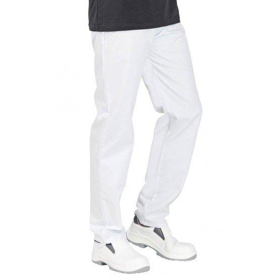 Pantalon cuisine professionnel travail 100% coton mixte cuisine restauration hotel restaurant - BLANC