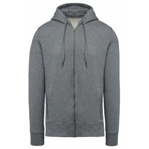 Sweat zippe capuche professionnel travail BIO mixte manutention artisan logistique chantier - GRIS