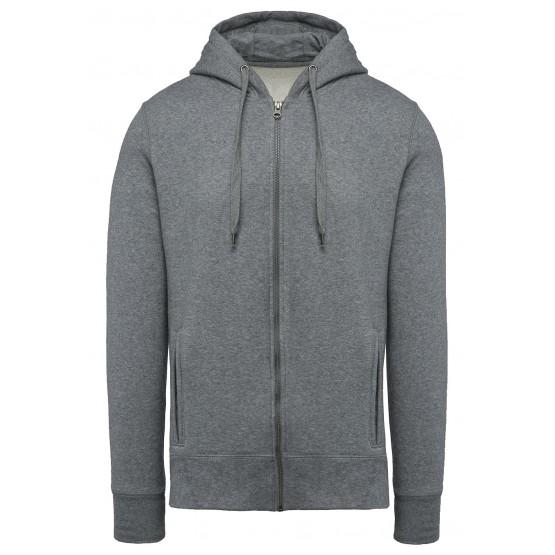 GRIS - Sweat zippé à capuche professionnelle de travail 80% coton biologique / 20% polyester OCS Blended contrôlé par Ecocert Gr