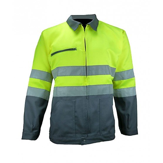 GRIS/JAUNE - Veste de travail professionnelle à manches longues homme chantier menage artisan entretien