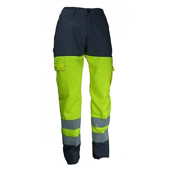 GRIS/JAUNE - Pantalon de travail professionnelle Fluo : 80% polyester 20% coton ; Contraste : 60% coton 40% polyester homme chan