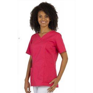FUCHSIA - Tunique professionnelle de travail blanche à manches courtes femme médical foyer infirmier internat