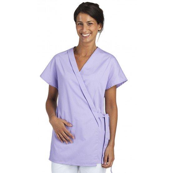 Tunique professionnelle travail blanche manches courtes kimono femme estheticienne medical coiffeur infirmier - LILAS