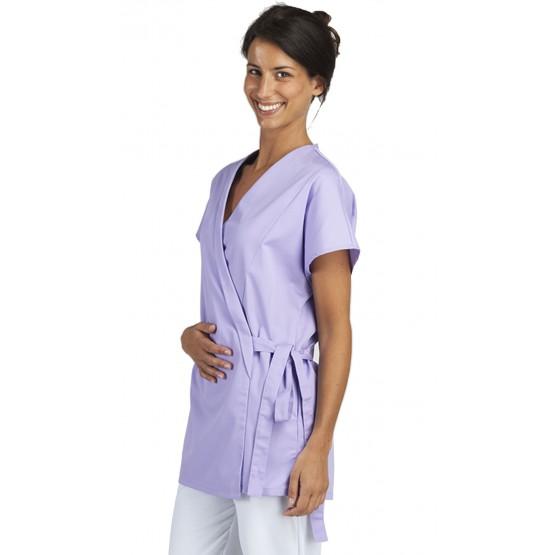 Tunique professionnelle travail blanche manches courtes kimono femme estheticienne medical coiffeur infirmier
