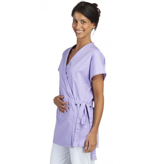 Tunique professionnelle de travail blanche à manches courtes kimono femme - PROMO esthéticienne infirmier coiffeur médical