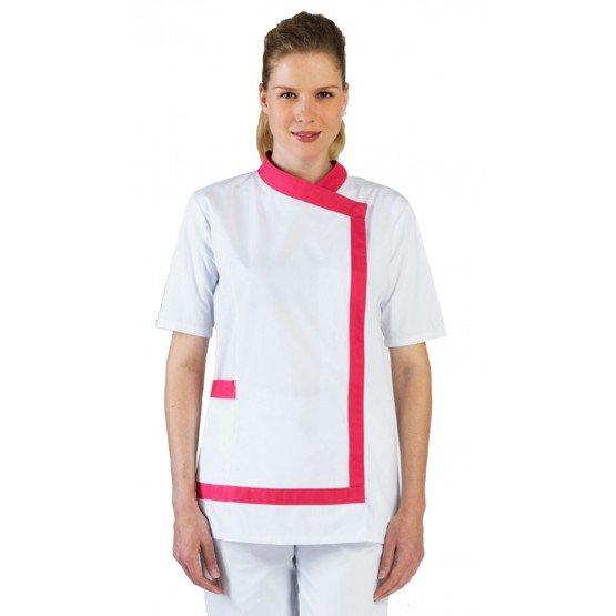 Blouse professionnelle travail blanche manches courtes femme - PROMO aide domicile infirmier auxiliaire vie medical - BLANC/FUCH