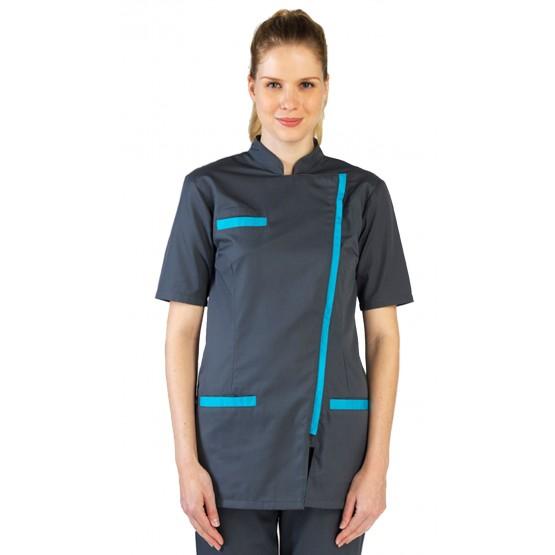 Blouse professionnelle travail blanche manches courtes femme - PROMO aide domicile infirmier auxiliaire vie medical - ARDOISE/AT