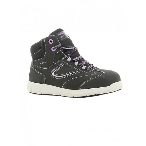NOIR/LILAS - Chaussure de sécurité S3 professionnelle de travail noire en cuir ISO EN 20345 S3 femme artisan menage chantier ent