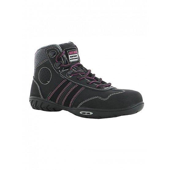 NOIR - Chaussure de sécurité S3 professionnelle de travail noire en cuir ISO EN 20345 S3 femme artisan menage chantier entretien