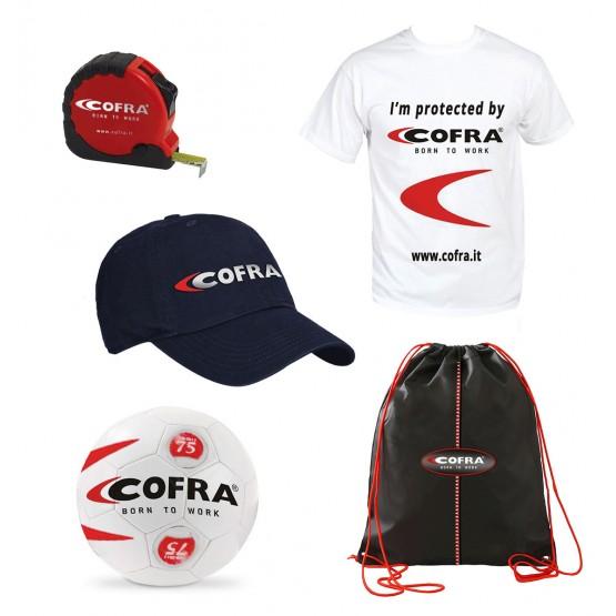 Commander pour choisir le cadeau COFRA (1.Ballon 2.Mètre de mesure 3.Casquette 4.Tee-shirt 5.Sac)
