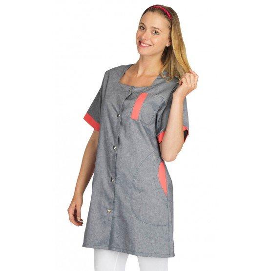 Blouse professionnelle travail blanche manches courtes femme aide domicile infirmier auxiliaire vie medical - CHAMBRAY/PAPAYE