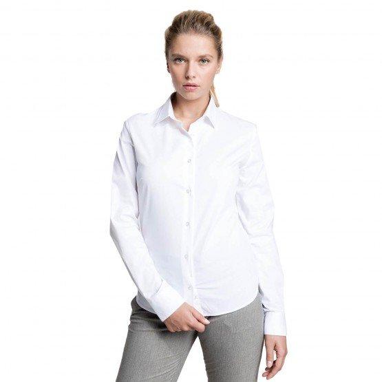 BLANC - Chemisier ML Femme professionnelle de travail 100% coton femme cuisine restaurant hôtel restauration