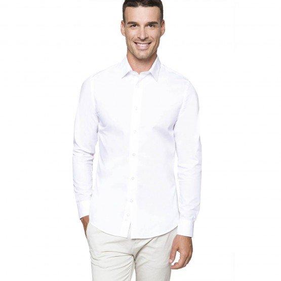 BLANC - Chemise ML Homme professionnelle de travail 100% coton homme hôtel serveur cuisine restaurant
