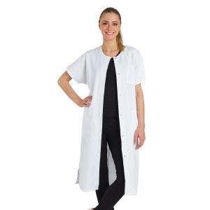 BLANC - Blouse professionnelle de travail blanche à manches courtes kimono 100% coton femme restauration médical hôtel infirmier