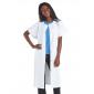 BLANC - Blouse professionnelle de travail blanche à manches courtes kimono femme crèche infirmier médical restauration
