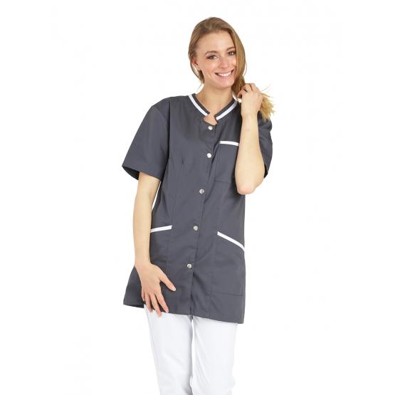 Tunique professionnelle travail blanche manches courtes femme auxiliaire vie medical aide domicile infirmier - ARDOISE/BLANC