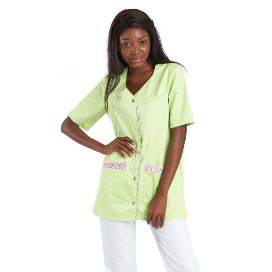 Tunique professionnelle travail blanche manches courtes femme auxiliaire vie infirmier aide domicile medical ANIS/PAPILLON