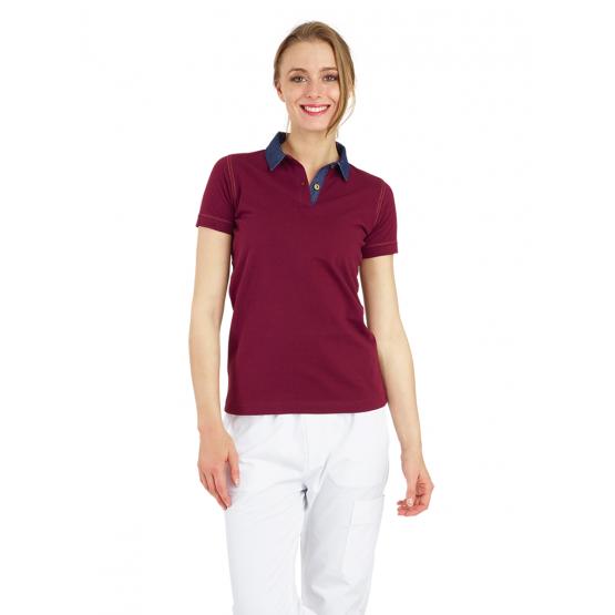 Polo professionnel travail 100% coton femme aide domicile medical auxiliaire vie infirmier - DENIM/BORDEAUX