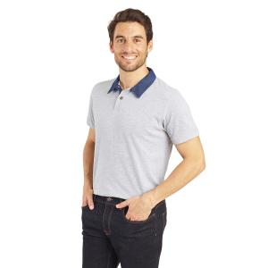 Polo professionnel travail 100% coton homme aide domicile infirmier auxiliaire vie medical - DENIM/GRIS