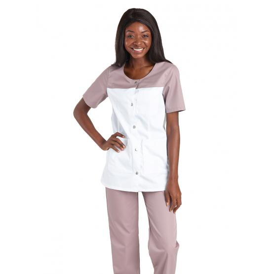 BLANC/ZINC - Tunique professionnelle de travail blanche à manches courtes femme - PROMO aide a domicile médical auxiliaire de vi
