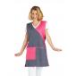 Chasuble tablier blouse professionnel femme entretien aide domicile menage auxiliaire vie - ARDOISE/FUCHSIA