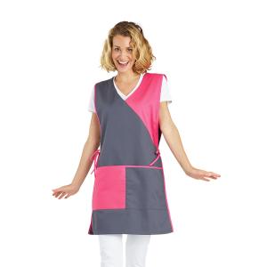 Chasuble tablier blouse professionnel femme entretien aide domicile menage auxiliaire vie - ARDOISE/ANIS