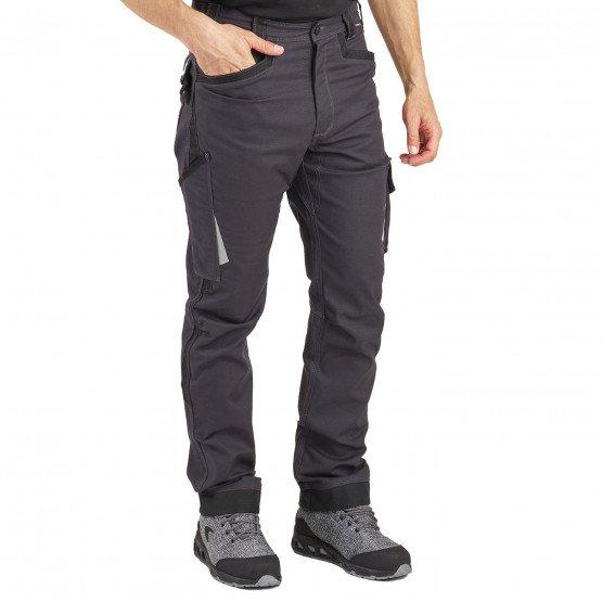Pantalon travail professionnel homme logistique chantier manutention artisan - GRIS/NOIR