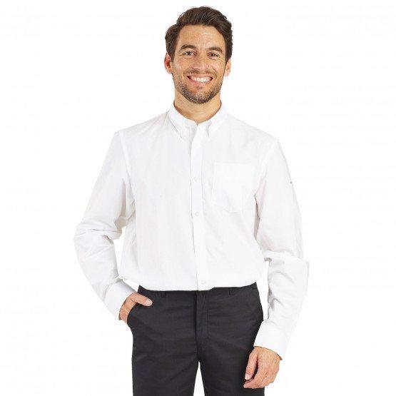 BLANC - Chemise ML Homme professionnelle de travail homme élève restaurant serveur boucher