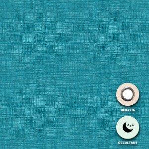 Rideau occultant sur oeillets Neuilly Disponible en 150 x 250, 200 x 250 et 250 x 250 - TURQUOISE