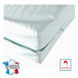 Housse matelas impermeable professionnelle hebergement foyer blanche Maille polyester enduite polyurethane impermeable non feu -