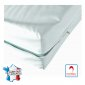 Housse matelas impermeable professionnelle hebergement foyer blanche Maille polyester enduite polyurethane impermeable non feu -