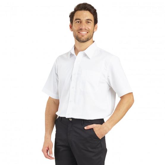 Chemise MC Homme professionnelle travail 100% coton homme restauration hotel restaurant cuisine - BLANC