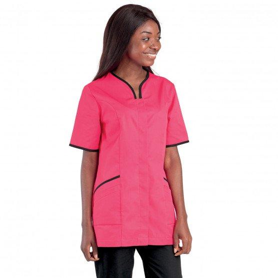 Tunique professionnelle travail blanche manches courtes femme auxiliaire vie medical aide domicile infirmier - FUCHSIA/NOIR