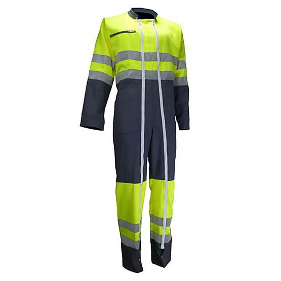 GRIS/JAUNE - Combinaison haute visibilité vision II professionnelle de travail Tissu fluorescent : 80% polyester 20% coton. Cont