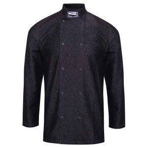VESTE DE CUISINE MIXTE LOIS - BLACK DENIM