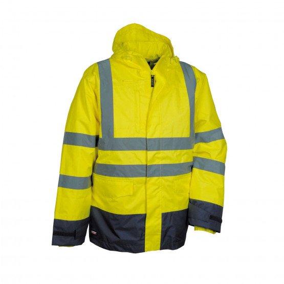JAUNE/MARINE - Parka Haute visibilité 4 en 1 professionnelle de travail homme transport artisan manutention chantier