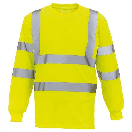 JAUNE - Tee-shirt professionnelle de travail à manches longues homme logistique artisan manutention chantier
