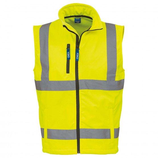 JAUNE - Softshell Haute visibilité professionnelle de travail homme logistique artisan manutention chantier