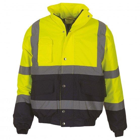 JAUNE/MARINE - Blouson Haute visibilité professionnelle de travail homme artisan logistique chantier manutention
