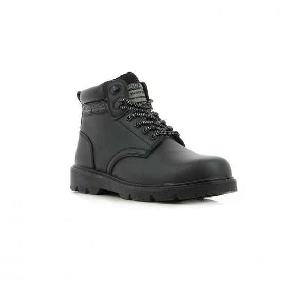 NOIR - Chaussure haute de sécurité S3 professionnelle de travail noire en cuir ISO EN 20345 S3 homme chantier entretien artisan