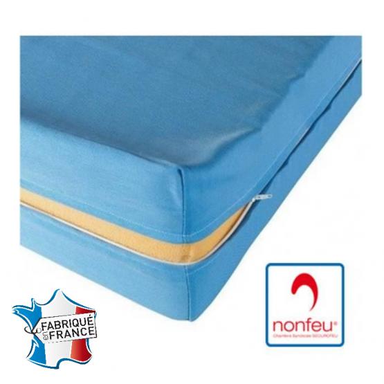 BLEU - Matelas professionnelle hébergement foyer Mousse haute résilience Nerflex, densité 35 kg/m3 ; Housse 100% polyester resta