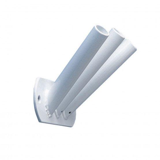BLANC - Platine de fixation tripode inclinée pour mâts de façade professionnelle de travail