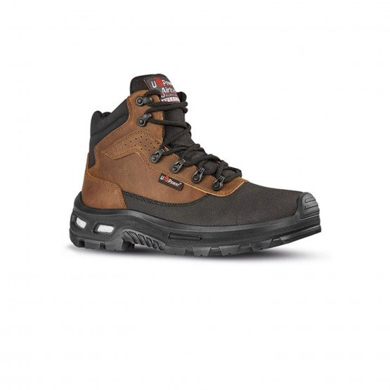 MARRON - Chaussure haute de sécurité S3 professionnelle de travail en cuir ISO EN 20345 S3 mixte logistique chantier manutention