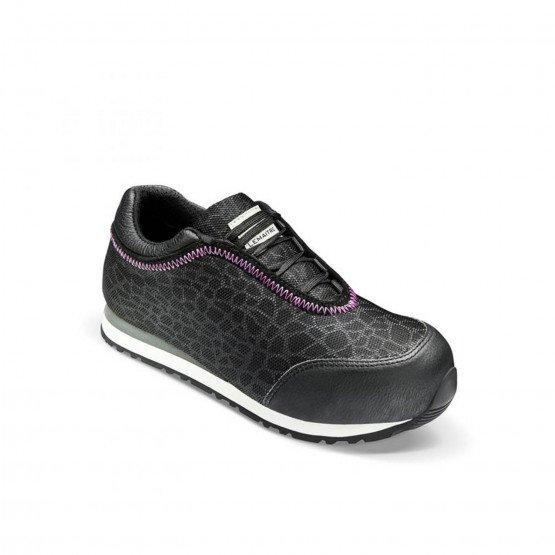 NOIR - Chaussure de sécurité S1P professionnelle de travail noire en cuir ISO EN 20345 S1P femme artisan entretien chantier mena